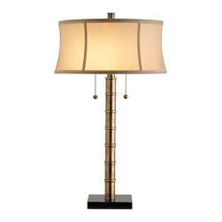 "Currey and Company - Currey and Company Antidote Antique Brass Table Lamp - A stylish and clean table lamp with transitional appeal. This design features a warm antique brass finish column that's topped with a classic champagne silk drum shade. The black granite stand offers a sophisticated base. Double pull-chains control the lighting. From Currey & Company. Solid brass body. Black granite base. Champagne silk drum shade. Takes two 120 watt bulbs (not included). 26"" high. Shade is 14"" across the top 15"" across the bottom 7"" high.  Solid brass body.   Black granite base.   Champagne silk drum shade.   Takes two 120 watt bulbs (not included).   26"" high.   Shade is 14"" across the top 15"" across the bottom 7"" high."