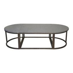 Noir - Noir - Oval Stone Coffee Table w/ Metal - Metal and Stone