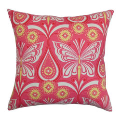 The Pillow Collection - Jorgen Floral Pillow Pink - The best way to redecorate your home without spending much is to change your throw pillows. This plush accent pillow is a perfect addition to your collection of home decors. Adorned with bright floral patterns and butterfly prints, this square pillow will brighten up your interiors. The pretty shades of pink, yellow and white are refreshing. Make your living room, bedroom or lounge area an ideal place for hangout and relaxation by tossing this decor pillow. Made from 100% durable and plush cotton fabric. Hidden zipper closure for easy cover removal.  Knife edge finish on all four sides.  Reversible pillow with the same fabric on the back side.  Spot cleaning suggested.