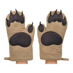 "Fred and Friends - Bear Hands Oven Mitts - Place Fred's grizzly-size oven mitts over your paws and beat the heat. You get a right and left mitt, constructed from insulated cotton with silicone ""pads."""