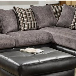 Chelsea Home - 2-Pc Oliver Sectional Set - Includes right arm facing chaise and left arm facing sofa with toss pillows. Ottoman not included. Medium seating comfort. Reversible seat cushion. Nailed, stapled and corner blocked frame. Cover: San Marino ebony/fife grey bingo black. Fabric content: 78% poly vinyl chloride, 2% polyurethane, 20% TC Backing. 1.5 dacron wrapped foam cores. Constructed with sinuous springs to provide no sag seating. Made from solid hardwoods and plywoods. Made in USA. No assembly required. Chaise: 80 in. L x 38 in. W x 37 in. H (150 lbs.). Sofa: 71 in. L x 38 in. W x 37 in. H (175 lbs.). Overall: 109 in. - 80 in. L x 38 in. W x 37 in. H (325 lbs.)
