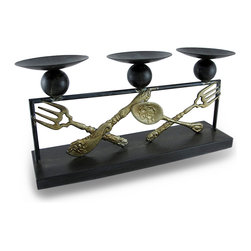 Zeckos - Metal Silverware Triple Candle Holder Distressed Finish 3 Pillar Display - This triple candle holder adds a delightful accent to shelves, or tables, or counters perfect for the kitchen or dining room featuring a distressed black finish and ornate antique inspired silverware accents sure to complement most decor styles. It accommodates 3 pillar candles up to 3 inches in diameter, or 3 votive or tealight candles (candles not included). Made from metal, it measures 14.25 inches long, 7 inches high, and 3.5 inches deep (36x18x9 cm). Use it with LED candles for worry free accent lighting anywhere in your home. This piece makes a wonderful gift that is sure to be admired.