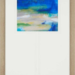 Paragon Decor - Hither To Artwork - Abstract sky and sea in luminous shades of blue are triple matted in white with bottom weighted matting.