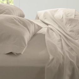 Garnet Hill - Signature Wrinkle-Resistant Solid Sateen Sheets - Double - Flat - Linen - Enjoy the worry-free ease of no-iron sateen bedding. These 400 thread count sheets of premium combed long-staple Egyptian cotton are called sateen because they are woven to display a lustrous sheen that resembles satin. Stays smooth after washing, with no need for ironing. Fitted sheet is fully elasticized for a better fit.