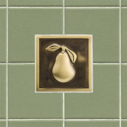 "4"" Solid Brass Wall Tile with Pear Design - Customize your kitchen or bath with this delightful 4"" accent tile. Made of solid brass and a Signature Hardware exclusive, this wall tile features a decorative pear design."