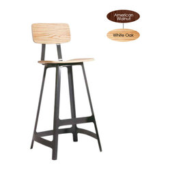 Ivar Counter Stool, White Oak with White Base, Set of 2