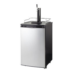 Danby - 5.2 CuFt. Beer Keg Cooler, Holds 1/2 Keg of Beer, SS Door - The Danby DKC146SLDB 5.2 Cu. Ft. Chill'n Tap Keg Cooler is the newest compact keg cooler and the perfect addition to any game or entertainment room. It has a spotless steel door-front that resists smudging and the stylish black body is complimented by a chrome guard rail and pour spout. This 5.2 cu. ft. keg cooler can accommodate a half or full size keg or convert to a large capacity all refrigerator, making this model the perfect game time companion.5.2 cu. ft. (146 litre) capacity keg cooler Environmentally friendly R134A refrigerant Mechanical temperatur control Reversible door hinge for left or right hand opening Co2 tank and all hardware included (Co2 requires charging) Automatic defrost Scratch resistant worktop Black/Chrome beer tower dispenser Chrome guardrail included Drip tray included   danby  dkc146sldb  dkc146  beer  keg  cooler  chill'n  tap  chill  n  and  5.2  cu.  ft.  stainless  co2  defrost  guard  rail  drip  tray  Package Contents: beer keg cooler manual/warranty  This item cannot be shipped to APO/FPO addresses