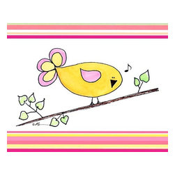 Oh How Cute Kids by Serena Bowman - Song Bird - Yellow with Pink Strips, Ready To Hang Canvas Kid's Wall Decor, 24 X - Each kid is unique in his/her own way, so why shouldn't their wall decor be as well! With our extensive selection of canvas wall art for kids, from princesses to spaceships, from cowboys to traveling girls, we'll help you find that perfect piece for your special one.  Or you can fill the entire room with our imaginative art; every canvas is part of a coordinated series, an easy way to provide a complete and unified look for any room.