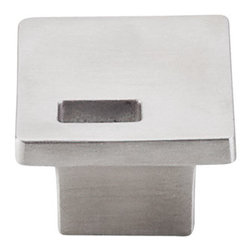 """Top Knobs - Modern Metro Slot Knob 1 1/4"""" (c-c) - Brushed Stainless Steel - Width - 1 1/4"""", Projection - 1"""", Base Diameter - W 3/8"""" x L 7/8"""""""