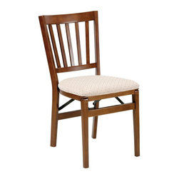 Stakmore - 33.5 in. School House Folding Chair - Set of - Set of 2. Fruitwood finish. Transitional folding. Contemporary style. Vertical slats. Curved top and bottom rail. Steel folding mechanism. Padded upholstered seat. Folds up to 7.75 in. deep for storage. Made from solid wood. No assembly required. 19.25 in. W x 17.5 in. D x 33.5 in. H. Seat height: 18.75 in.
