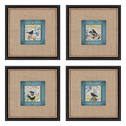 Paragon - Black Bird Tiles PK/4 - Framed Art - Each product is custom made upon order so there might be small variations from the picture displayed. No two pieces are exactly alike.