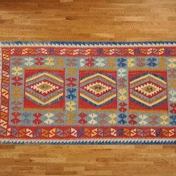 Kilim Qasqagi - Special Hand Woven 3'5''x7' Vegetable Dye Kilim Oriental Area Rug, Runner.