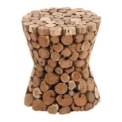 Benzara - Teak Material Wooden Rustic Stool in Rich Natural Textures - Teak material wooden rustic stool in rich natural textures. This stylishly designed teak wood stool will enhance your home or outdoor decor. Some assembly may be required.