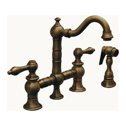 Whitehaus - III 6.19 in. Bridge Kitchen Faucet (Brushed N - Color: Brushed NickelPictured in antique brass. Entertainment and prep. Short swivel spout. Cross handles. Solid brass side spray. 8 in. center to center spread. Patent pending. 6.19 in. L x 7.63 in. H. Warranty