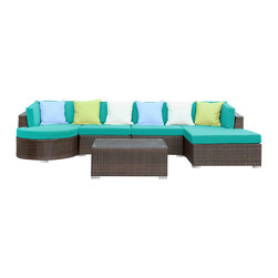 Modway - Montana 5 Piece Sectional Set in Brown Turquoise - Nestled among the expanse of the Rocky Mountains lies a land of big skies and even bigger dreams. With its assorted pieces to fit every seating position, the Montana set is symbolic of the treasured nature of its namesake. While Montana is termed in. Big Sky Countryin.  and the in. Land of the Shining Mountainsin.  the set itself is the stuff dreams are made of. Montana is comprised of UV resistant rattan, a powder-coated aluminum frame and all-weather cushions. The set is perfect for cafes, restaurants, patios, pool areas, hotels, resorts and other outdoor spaces.