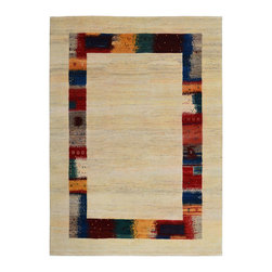 """Individual - A 6' x 8' Tribal Persian  Lori Gabbeh Area Rug/ Art Deco Area Rug - This is an authentic handmade rug. This is an astonishing Persian Lori Gabbeh rug. We hamd these in late 80's, unlike ordinary Gabbeh rugs that they have between 60 to 80 KPSI, this type of Gabbeh which is called Lori Gabbeh have more than 120 KPSI. We only have one left in our inventory, which is this one, measures 5'-5"""" x 7'-7"""" to be exact. It has a nice off white plain field with multi colors in the main borders, as you see the multi colors in borders have awesome conrast with the off white ground. For those who are looking for an art deco in this size , design and color combination, this could meet their requirements . This rug was made in Fars province in southwest Persia wit hall vegetable dyes. Now due to our holiday special, I am offering this beauty at absolute give away price of $1,299.00."""