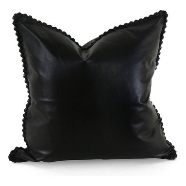Pfeifer Studio - Leather Whipstitch Pillow - Combining the sophistication of an �old boys� club with the appeal of urban living and the ruggedness of the dry desert plains, the Leather Whipstitch Pillow invites you to a smoking room on Park Avenue, a spacious Parisian loft or the New Mexico desert. Each closes with a hidden garment zipper and is fitted with a medium-fill feather and down inner. Our pillows are each individually handmade-to-order using natural materials, each is considered unique and one-of-a-kind.