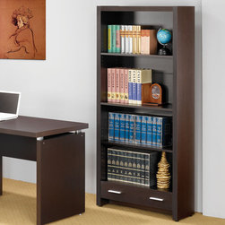 Coaster - Skylar Bookcase, Cappuccino - A sleek finish and clean lines make this a great addition to your home office. Add even more storage space by using additional file cabinets as well as the bookcase, which features two storage drawers. This collection comes in a cappuccino color with silver accent hardware. Some assembly required.
