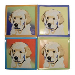 WL - 4 Inch Square Pop Art Inspired Yellow Lab Ceramic Coasters Set of 4 - This gorgeous 4 Inch Square Pop Art Inspired Yellow Lab Ceramic Coasters Set of 4 has the finest details and highest quality you will find anywhere! 4 Inch Square Pop Art Inspired Yellow Lab Ceramic Coasters Set of 4 is truly remarkable.