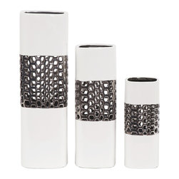 Howard Elliott - Glossy White with Bright Nickel Textured Lattice Middle Ceramic Vases (Set of 3) - This ceramic vase set features a squared shape finished in a bright glossy white glaze. It is accented by a bright nickel plated lattice design.