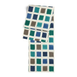 Blue & Teal Square Ikat Custom Table Runner - Get ready to dine in style with your new Simple Table Runner. With clean rolled edges and hundreds of fabrics to choose from, it's the perfect centerpiece to the well set table. We love it in this woven cotton square ikat in oceanic tones of deep blue, teal, aqua and sand.