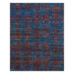 "Loloi Rugs - Loloi Rugs Giselle Collection - Ocean Sunset, 7'-9"" x 9'-9"" - The radiant Giselle Collection is hand knotted entirely of refurbished sari silks from India. Each design reverberates in stunning colors like ruby red and sapphire blue that make for an incredibly vibrant collection, ideal for contemporary to transitional interiors."