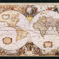 Amanti Art - Map of The World Framed with Gel Coated Finish by Henricus Hondius - Vintage maps are a classic accent that never goes out of style. Whether you are a map lover or wish to document and showcase where you have been (or would like to go), maps make a great addition to any space.