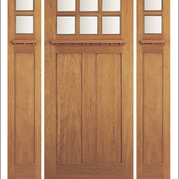 Arts & Crafts / Craftsman Doors - These entry doors are inspired by the Arts & Crafts / Craftsman Era.  They are built with dentil shelfs and shaker style panels.  Many models are also available in a 7 Foot Heights.  The glass is triple glazed ( three panes of glass ) which adds insulation and makes the door easier to clean while protecting the beveled glass at the same time.  The version pictured is the AC-703-A with a dual insulated beveled option.  We have a few models available in fiberglass if you want the same classic look in a material other than wood.  Give us a call today to find the right match!