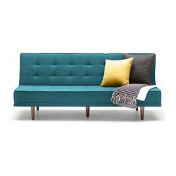 NYFU - Sleek Sofa Bed-Turquoise - The combination of functionality and elegance. Our Sleek Sofa Bed will give you a smooth experience when you are sitting and laying.Our sofa beds are not just for day time sleeping, they are bold and strong enough to accommodate your sleep every day & night!Pull the back seat slightly towards yourself and then release it to the back to get the full bed.The dense fill of Class A HR-35 foam brings the high-comfort of a plush firm bed.The textured cotton and linen base fabric is durable and the anthracite color gives this modern piece an even more slender look.