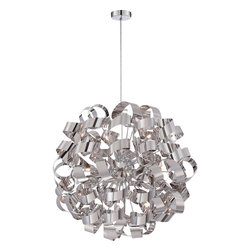 Quoizel - Quoizel Ribbons 12 Light Chandelier in Polished chrome RBN2831C - Quoizel's Platinum Division is trendsetting and forward thinking at its finest, showcasing the Ribbon's collection. This collection was constructed to resemble a swirling pattern that is unique and captivating.