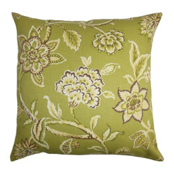 """The Pillow Collection - Walcott Floral Outdoor PIllow Green 20"""" x 20"""" - Strewn with oversized floral patterns, this floral throw pillow is a lovely statement piece. This decor pillow comes with a refreshing color palette features shades of green, brown, yellow and white. This square pillow makes a great addition to your patio, poolside or garden. Crafted with weather-resistant materials, this 20"""" pillow ensures long lasting quality and comfort. Hidden zipper closure for easy cover removal.  Knife edge finish on all four sides.  Reversible pillow with the same fabric on the back side.  Spot cleaning suggested."""