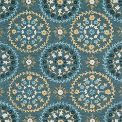 """Loloi Rugs - Loloi Rugs Juliana Collection - Teal / Gold, 7'-6"""" x 9'-6"""" - Breathe casual elegance and flirty fun into any room of your house with the hand-hooked Juliana Collection. Handmade in China of 100-percent polyester, the intricate, high/low texture of these unique rugs is achieved with a mix of petit-point and bolder hooks. Juliana's eye-catching designs feature a selection of transitional florals and stripe patterns that wear a decidedly happy palette. With texture this bold and colors this fun, you will smile every time you walk into your home."""
