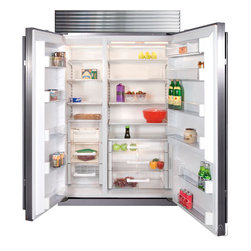 Built-in Side by Side Refrigerator with 4 Adjustable Spill-Proof Glass Shelves - The Sub-Zero BI-48S side-by-side refrigerator/freezer has dual refrigeration that divides the work between refrigerator and freezer, making it more energy efficient. It also has an air purification system. You can customize it with panels to match your cabinetry like I did in my last house.
