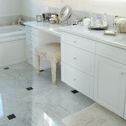 vanities - White vanity with wainscot.