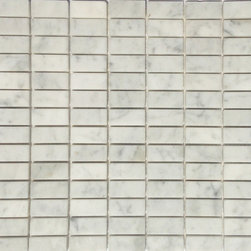 """Honed Carrara 1/2"""" x 1"""" Rectangle Tile, Greys & Whites, 4"""" X 4"""" Sample Swatch, H - Honed Stacked Carrara Marble Mosaic Tile.  This marble mosaic tile provides a number of design possibilities from contemporary to classic. It can be used for both commercial and residential settings.  We recommend it for kitchen backsplashes, bathroom floors and walls as well as wet areas (i.e. shower floors and walls).  The mesh backing not only simplifies installation, it also allows the tiles to bend and seperate easily. The tiles have a polished finish. The natural material will have some color variation."""