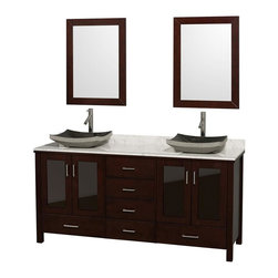 Wyndham Collection - Eco-Friendly Bathroom Vanity with Black Granite Sinks - Includes natural stone counter, backsplash, two countertop vessel sinks and matching mirrors. Faucets not included. Four doors and six drawers. Engineered to prevent warping and last a lifetime. Highly water-resistant low V.O.C. finish. 12-stage wood preparation, sanding, painting and finishing process. Floor standing vanity. Deep doweled drawers. Fully extending side-mount drawer slides. Soft-close doors. Concealed door hinges. Single hole faucet mount. Plenty of storage space. Metal hardware with brushed chrome finish. White Carrera marble top. Made from zero emissions solid oak hardwood. Espresso finish. Vanity: 72 in. W x 22.75 in. D x 35 in. H. Mirror: 24 in. L x 33 in. H. Handling Instructions. Assembly Instructions - Countertop. Assembly Instructions - Mirror. Assembly Instructions - SinkContemporary but practical design. The modern design puts a visual emphasis on clean lines, luxurious natural marble, abundant storage for two, and is at home in almost every bathroom decor. You'll never hear a door slam shut again!