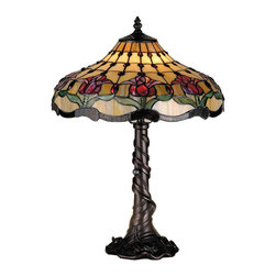 Meyda Tiffany - Meyda Tiffany Lamps Table Lamp in Mahogany Bronze - Shown in picture: Colonial Tulip Table Lamp; Pearlescent Beige Glass Panels With Plum Pink Colonial Tulips Setting Atop Spring Green Leaves Are Accented With Amethyst Jewels And Waves Of Mahogany Granite Glass. The Mahogany Bronze Finished Table Lamp Base Repeats The Tulip Pattern With Embossed Waves And Swirling Leaves.