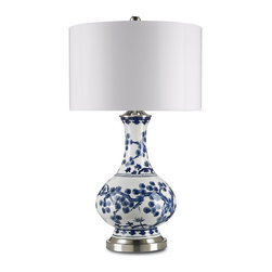 Currey and Company - Jardin Table Lamp - The Jardin's intricate pine and cherry blossom design is inspired by 18th and 19th century Chinese Porcelain stylings, as well as 15th century Chenghua stemcup designs. Crafted with metal and porcelain, the Jardin is an exquisite choice.