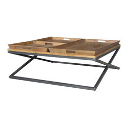Marco Polo Imports - Jasper Square Coffee Table - Rustic square coffee table is crafted from sustainable reclaimed pine in an antique bleach seal finish.