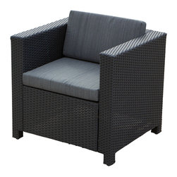 Great Deal Furniture - San Antonio Dark Striped Outdoor Wicker Chair - The San Antonio Wicker Chair offer contemporary style and functionality. Featuring a modern cubed shape, this chair is a perfect option for casual outdoor seating for your family or guests. The San Antonio is meticulously crafted with wide-braided wicker strands for sturdiness, while the padded cushions provide comfortable seating. This chair will make a great piece for your outdoor living space or poolscape.