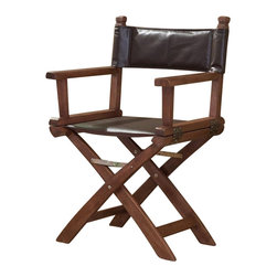 Coaster - Coaster Director's Accent Chair in Coffee Color - Coaster - Accent Chairs - 902056 - Director's chair featuring coffee colored leather-like sling with a solid wood frame finished in walnut. This chair will look great in your living room bedroom or office. Features: