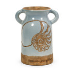 Blue Nautilus Shell Urn with Handles - *Fired red clay finished in a light  blue glaze, a reverse painted technique reveals a shell shape in the Naples urn with additional coordinating sizes.