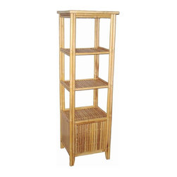 Bamboo54 - 4 Tier Rectangular Shelf - Has a bottom storage. Square bamboo ensures a smooth and even surface. 13 in. space between shelves. Made from Bamboo. No assembly required. 20.5 in. W x 19 in. D x 63.5 in. HGreat for use as a display piece.