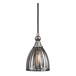 Uttermost - Manchester Metal Mini Pendant - Like a hopping Parisian Brasserie, this mini pendant light is both functional and elegant for your hotspots. The domed metal pendant light, finished in a fine rust silver, descends from above cage-like and yet, very liberating!