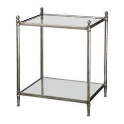 Uttermost - Gannon Mirrored Glass End Table - Delicate and reflective, this mirrored glass, antique silver leaf end table with shelf, will look gorgeous in a modern, urbane living room. Keep your glass cleaner ready for maximum effect and display your cascading spider plant or a cherished sculpture!