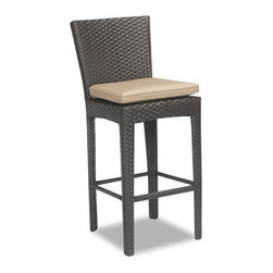 Thos. Baker - malibu 26-in counter stool w/ cushion - The malibu collection features premium dyed-through resin wicker in dark java with a contemporary design. Plush Sunbrella® double-piped cushions included in all seating items. Dining tables include tempered glass tops.