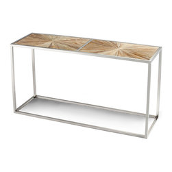 Aspen Console Table - Radiant starburst patterns of inlaid natural wood partner with a flawless frame in a chrome finish, interpreting sleek vintage motifs in an artful, linear form that makes them suitable for the most minimalist transitional interior  or for lending simplicity to classic eclecticism.  The elongated Aspen Console Table occupies little space but brings powerful visual direction to your look.