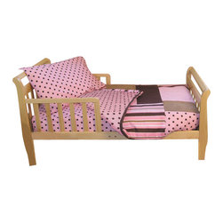 Trend Lab - Toddler Bedding Maya - Give your toddler the sophistication her big-girl bed deserves, with this sweet yet refined bedding set. Pleasing polka dots and cool stripes combine to create a look that is both fun and delicate for your child's bedroom. This cotton set includes everything you need for your toddler's bed: a quilt, fitted sheet, top sheet, and pillowcase.