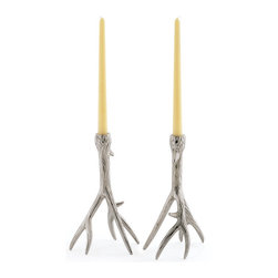 Go Gome - Outback Candleholders - Capture the chic look of antlers in decorative form. Crafted of nickel plated brass with a polished nickel finish, these modern bookends will surround your favorite reads on any shelf or desk. Pair with our fabulous set of metallic books for a wow look!