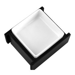 Trendy Pet - 4 Inch Bistro Bowl With One Ceramic Square Bowl, Black - Do you have a small cat or dog? Our dish is the perfect fit. Quality porcelain square dish that is easy to remove and adds a modern Asian flair to your decor.